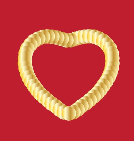 Golden heart on red background vector illustration design. Illustration