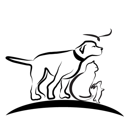 Dog and Cat, looking forward, vector illustration design.