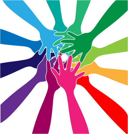 Teamwork community unity, colorful vector illustration design. Stock Illustratie