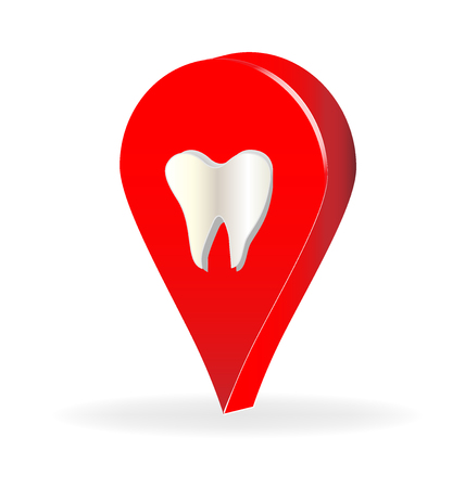 Dental tooth, location, vector icon illustration design.