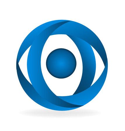 Blue abstract eye shape logo isolated on plain background.