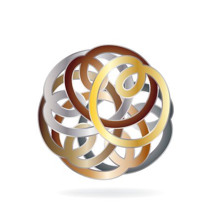 Abstract circle vector chain icon isolated on plain background.