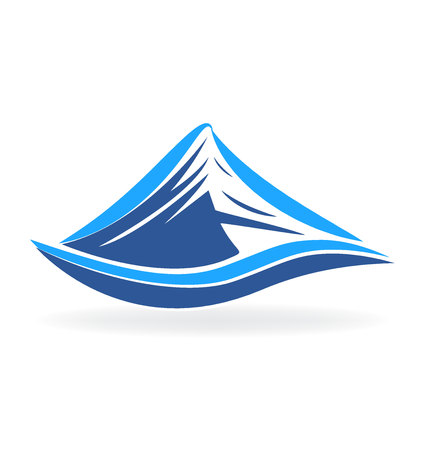 Mountain blue terrain vector logo isolated on plain background.