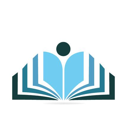 Libro educación logo vector icono aislado sobre fondo liso.