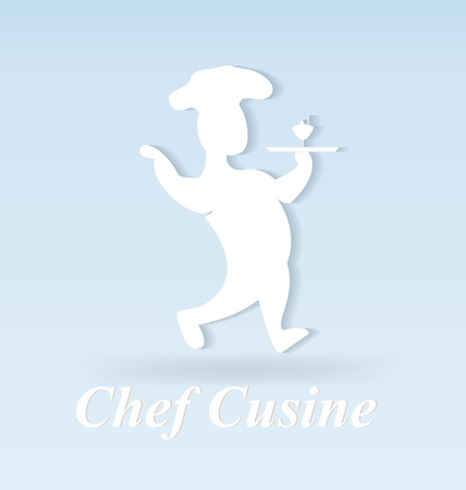 Chef cuisine cook, vector isolated on plain blue background.