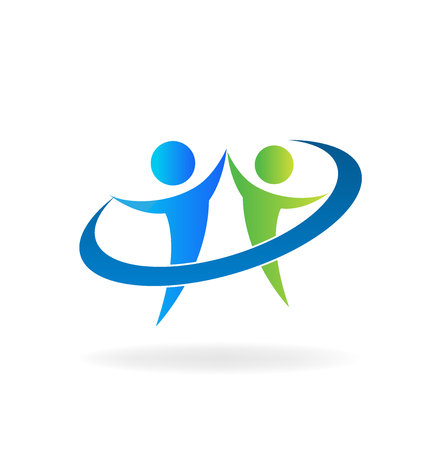 Teamwork people success, vector symbol isolated on plain background. Illustration