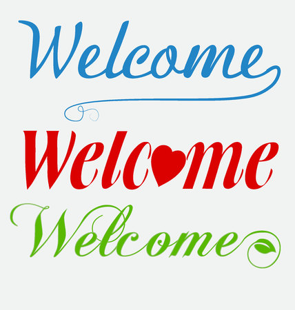 Welcome text set vector illustration on light background.