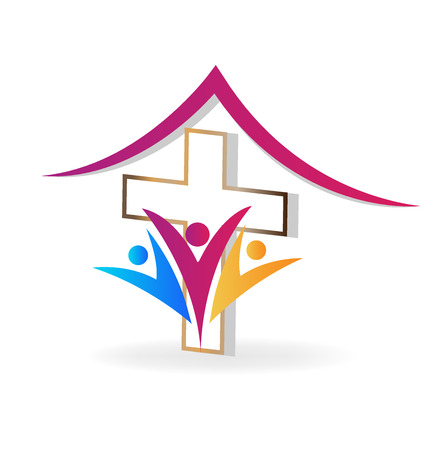 Church community group support, vector logo