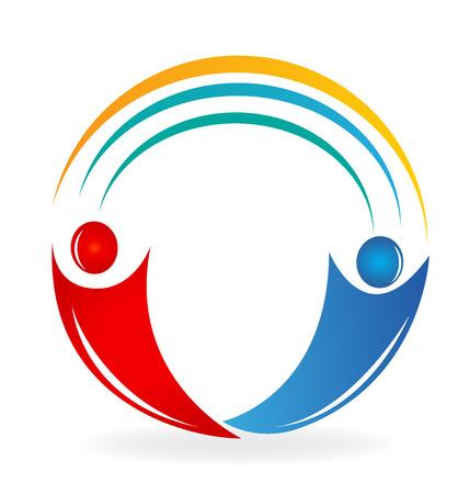 Teamwork partnership people, with rainbow curve, vector icon design symbol illustration Illustration