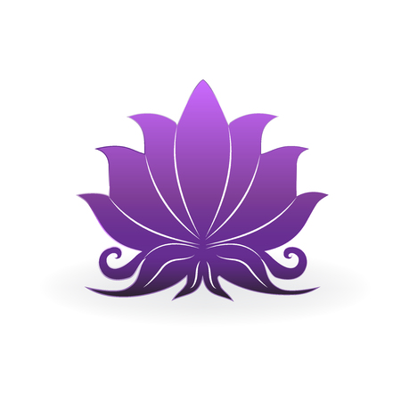 Purple lotus plant, zen meditation, vector icon design