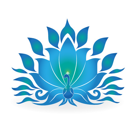 Blue colored peacock, isolated vector icon illustration symbol