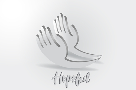 Hope hands, charity giving vector logo design illustration