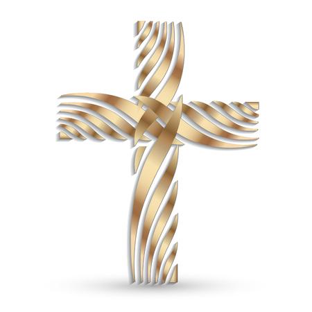 Golden cross vector symbol Illustration