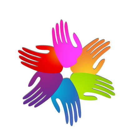 Hands of people coming together for change icon design illustration  イラスト・ベクター素材