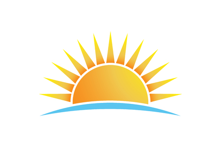 Bright sun shining vector logo isolated design illustration