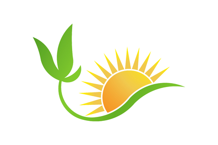 Green bio-solar energy. Plant and Sun logo vector