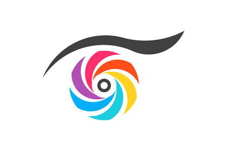 Colorful eye vision. Vector Logo Symbol