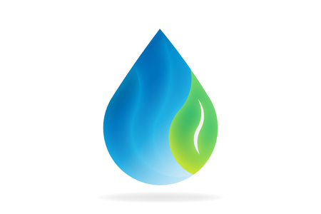 Natural water drop with leaf. Vector Logo Symbol