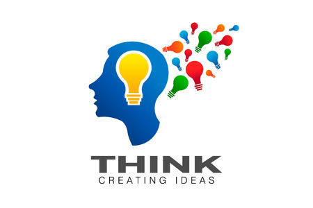 Thinking Brain Creative Imagination. Vector Logo Symbol Vectores