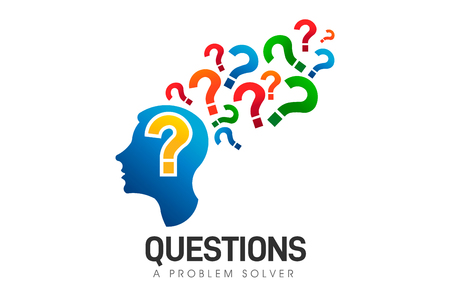 Brain Head, Questions Problem Solver. Vector Logo Symbol  イラスト・ベクター素材