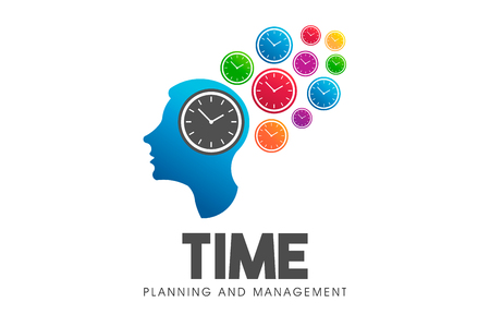 Time management head think. Vector