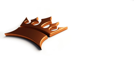 Bronze king crown. 3D render illustration.