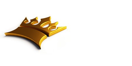 Gold king crown. 3D render illustration.