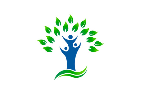 Green tree people environment organic logo  イラスト・ベクター素材