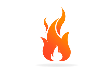 Fire flame with hidden negative space. Vector Logo Symbol
