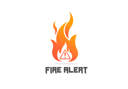 Fire flame with danger sign. Vector Logo Symbol  イラスト・ベクター素材