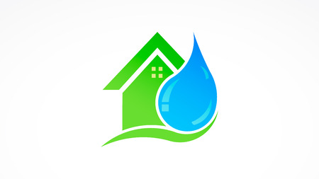 Water drop and house real estate logo 写真素材