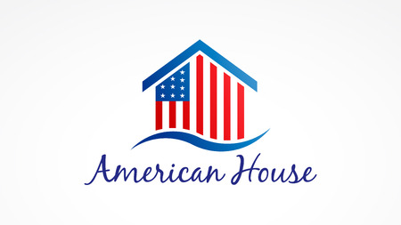 Usa House with american flag. Vector Logo Symbol 写真素材
