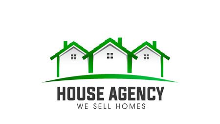 House real estate green logo vector