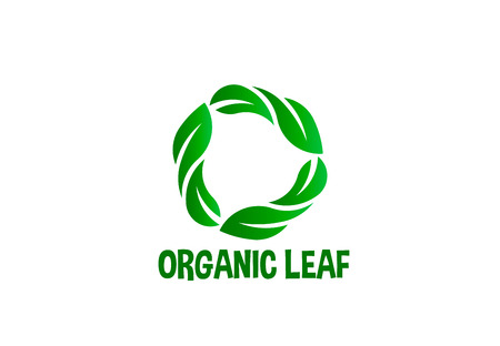 Organic leaf circle logo vector  イラスト・ベクター素材
