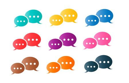 Speech message communication colorful set design illustration