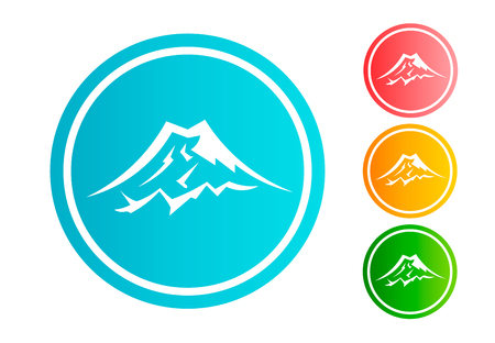 Mountain circle icon set vector