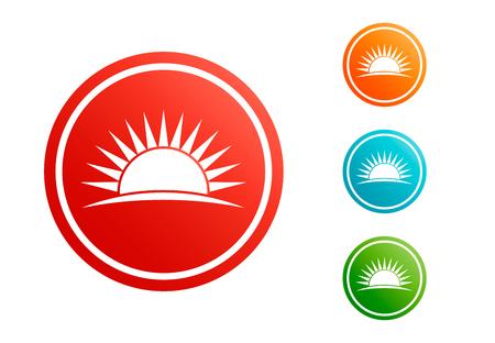 Sunset icon set vector Ilustrace