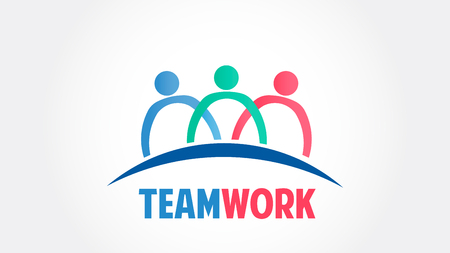 Teamwork group people community vector logo  イラスト・ベクター素材