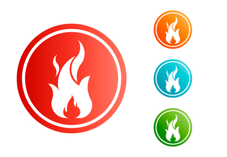 Fire flame with negative space. Vector Set