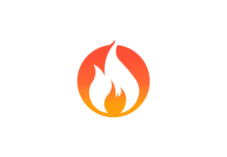 Fire flame with negative space. Vector Logo Symbol 写真素材