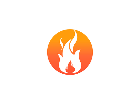 Fire flame with negative space. Vector Logo Symbol Design Illustration