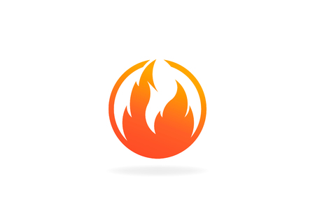 Fire flame with negative space. Vector Logo Symbol 写真素材 - 107712613