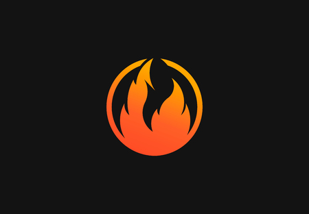 Fire flame with negative space. Vector Logo Symbol  イラスト・ベクター素材