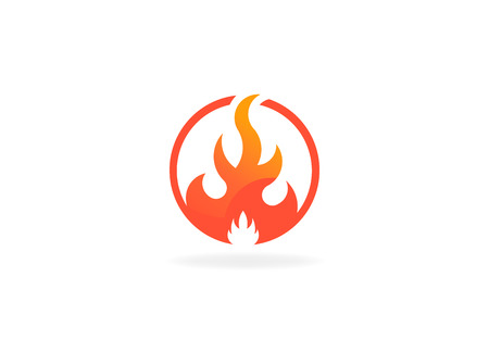 Fire flame with negative space. Vector Logo Symbol 写真素材 - 107712617