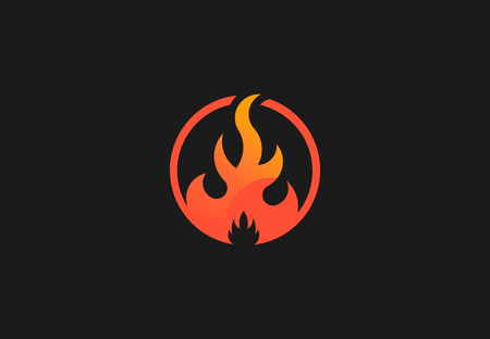 Fire flame with negative space. Vector Logo Symbol 写真素材 - 107712618