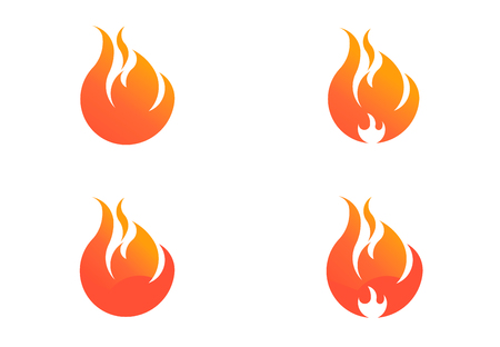 Fire flame with negative space set. Vector Logo Symbol  イラスト・ベクター素材