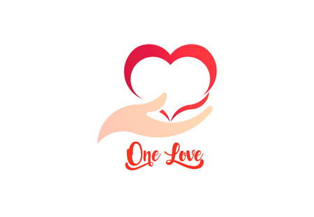 Heart and Caring Hand, logo business vector