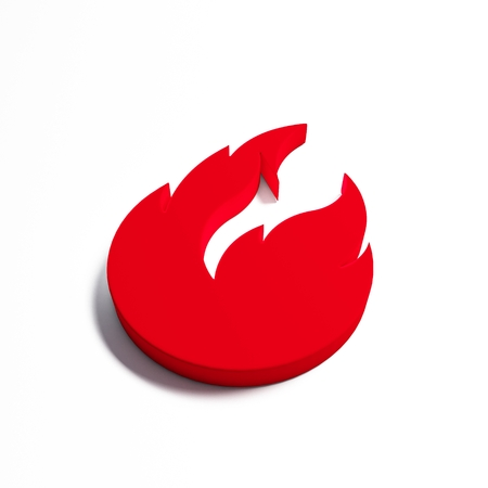 Fire flame with negative space. 3D render illustration isolated symbol 写真素材 - 107798391