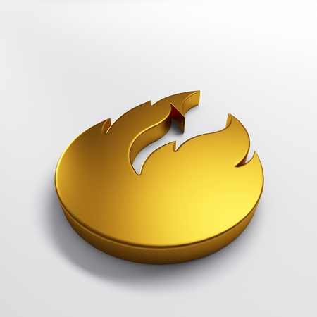Gold fire flame with negative space. 3D render illustration isolated symbol 写真素材 - 107798392