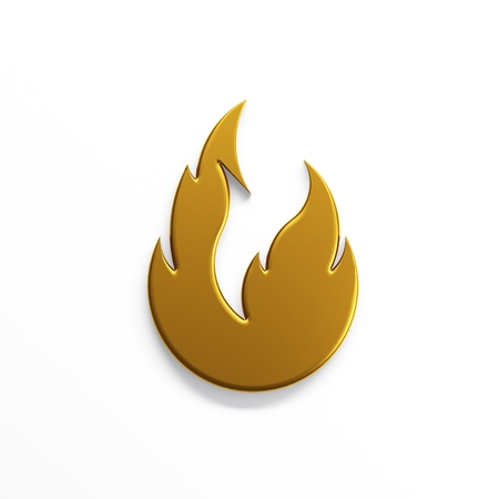 Gold fire flame with negative space. 3D render illustration isolated symbol
